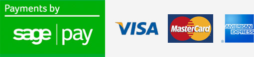 Payments by Sage Pay. We accept Visa, Visa Debit, MasterCard and American Expres