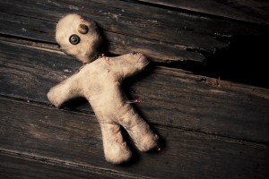 creepy voodoo doll found in bin